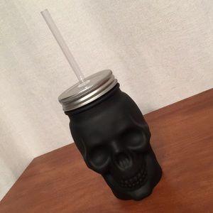 Matte Black Glass Skull Reusable Drink Cup Tumbler